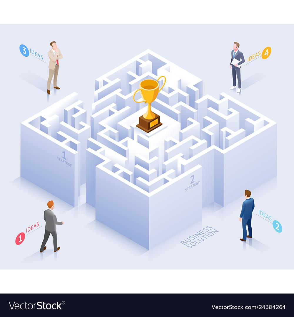Businessman standing at labyrinth