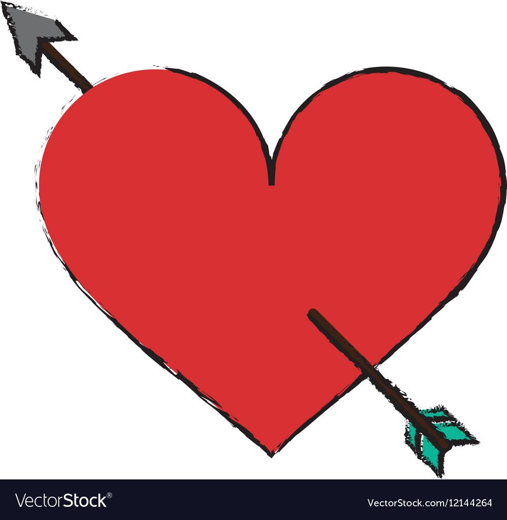 Cartoon red heart with arrow love symbol