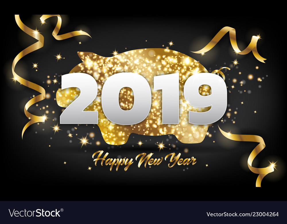 Chinese happy new year 2019 golden pig greeting