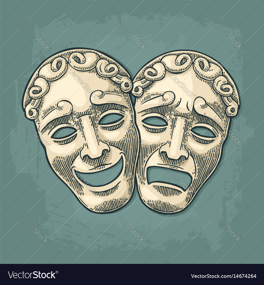 Comedy and tragedy theater masks engraving