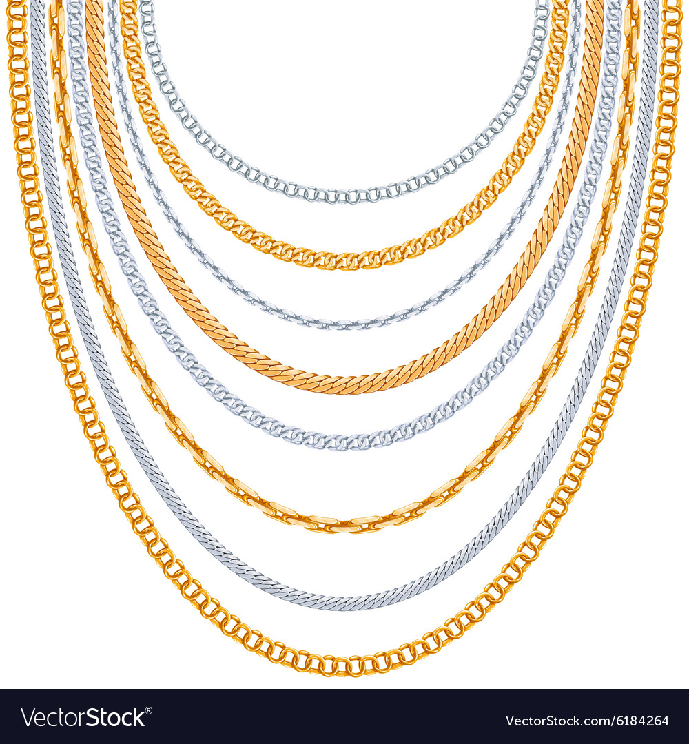 Gold chains background vector image