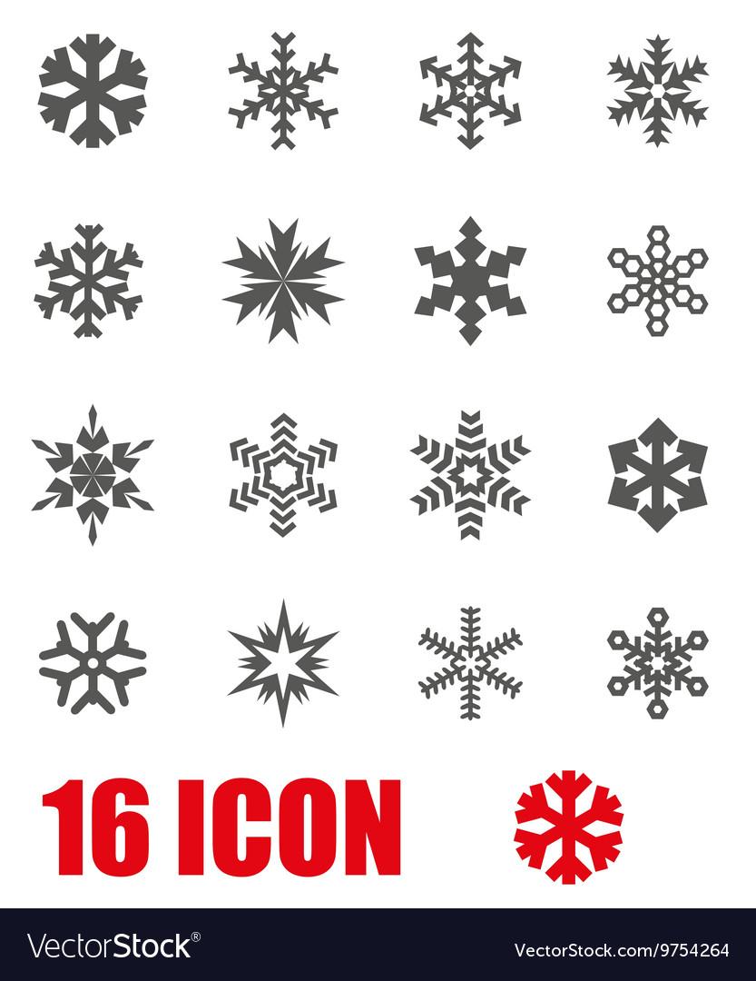 Grey snowflake icon set