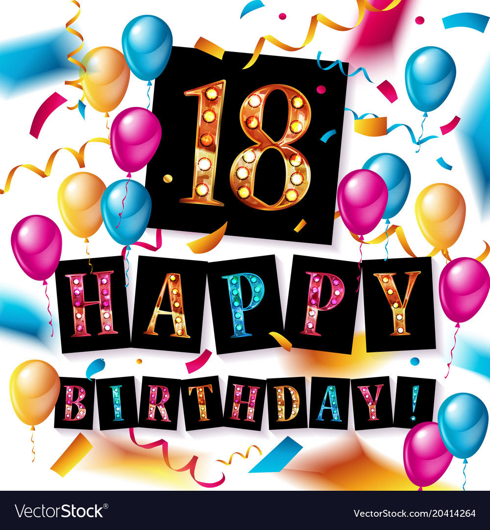 Terrific Happy Birthday 18 Years Anniversary Royalty Free Vector Personalised Birthday Cards Paralily Jamesorg