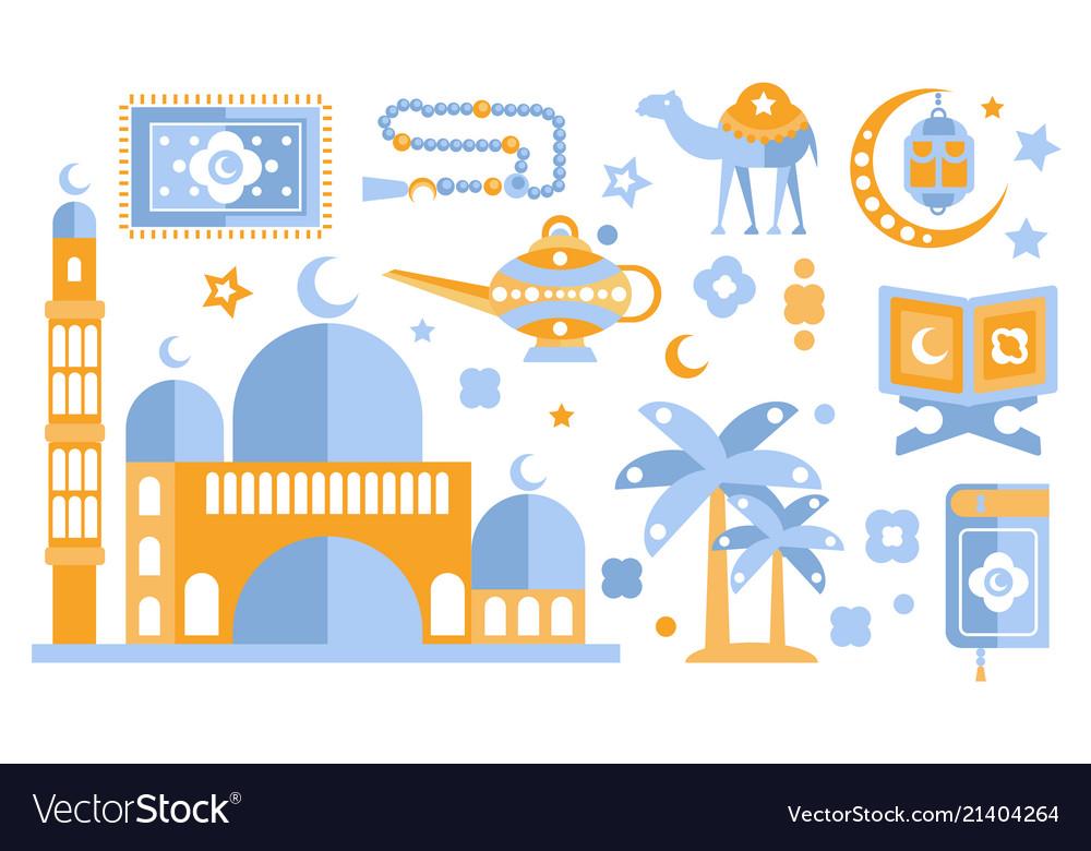 Islamic culture color icons set muslim attributes