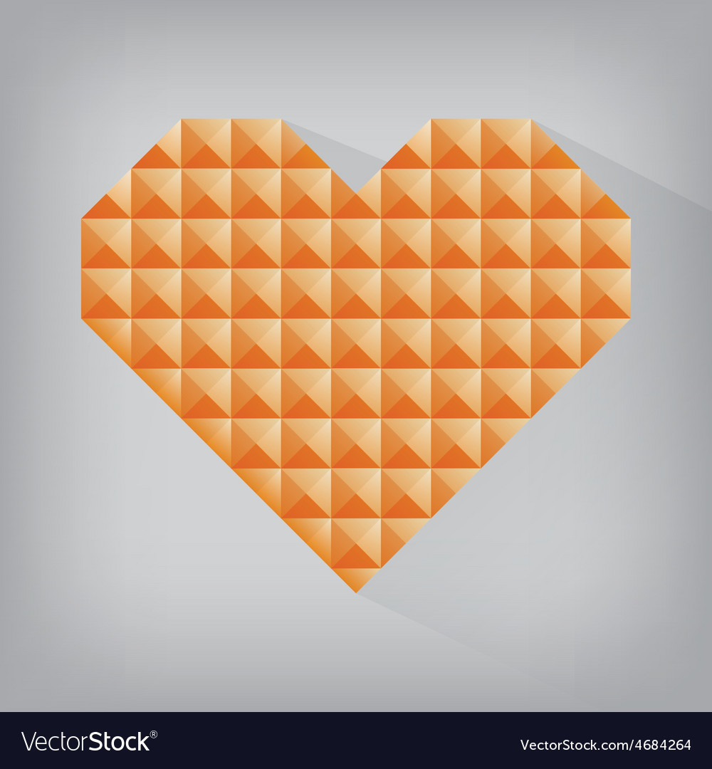 Orange retro heart triangle abstract love