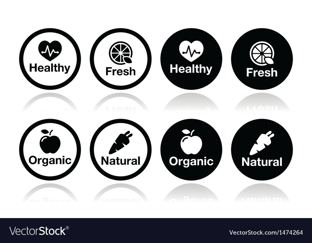 Organic food fresh and natural products icons set