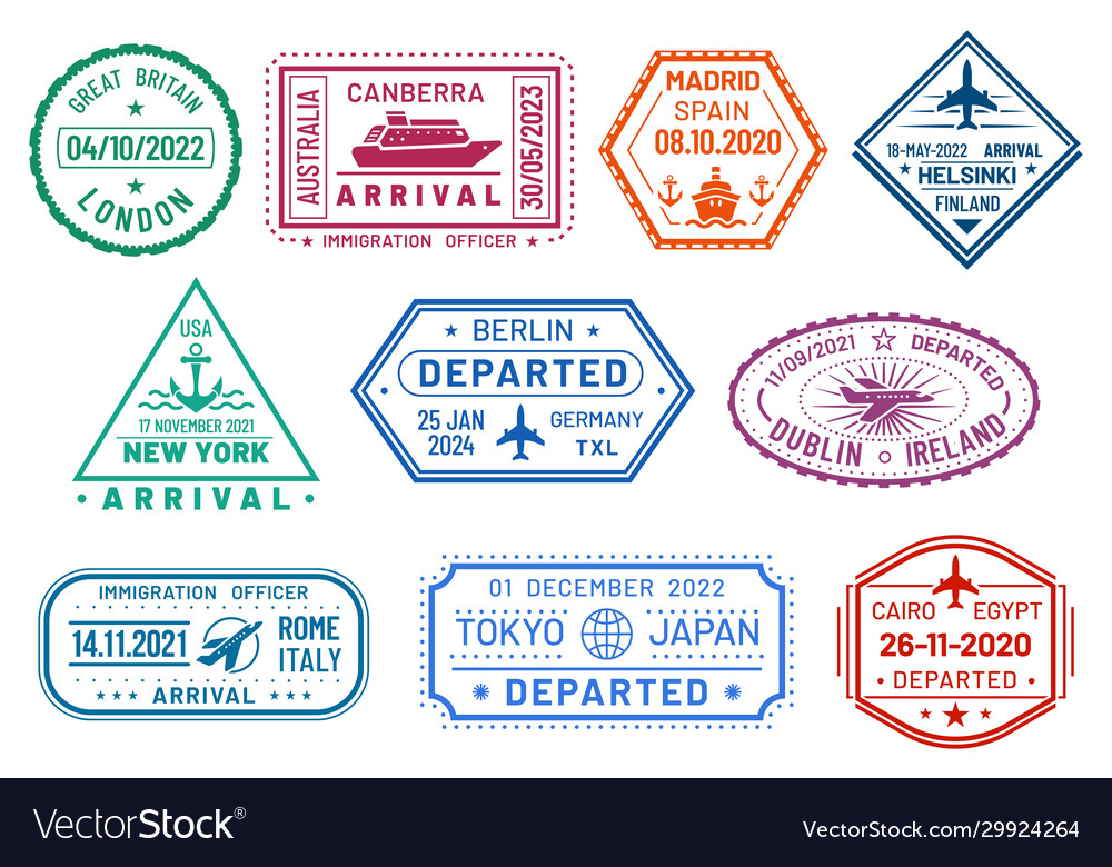 Passport visa stamps set arrival and departure