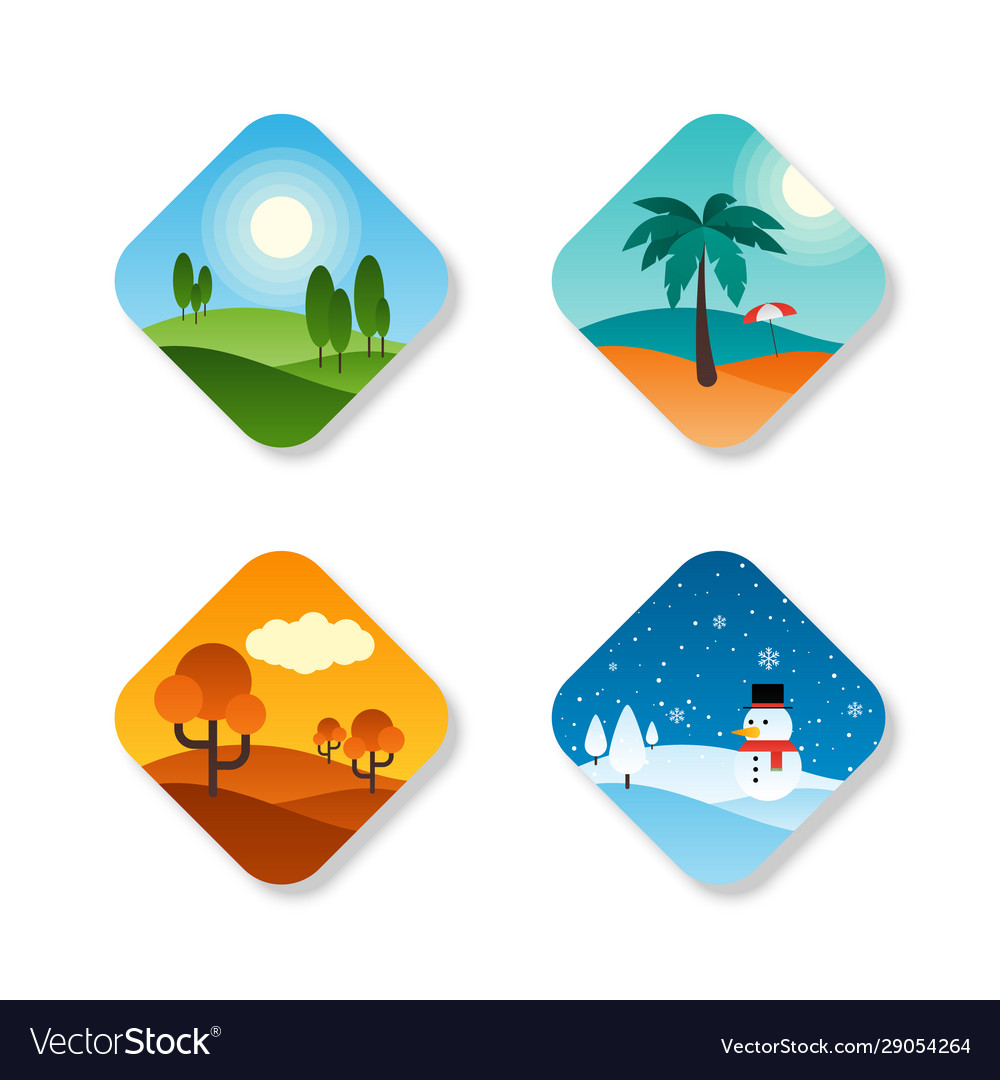 Seasons year flat design icon