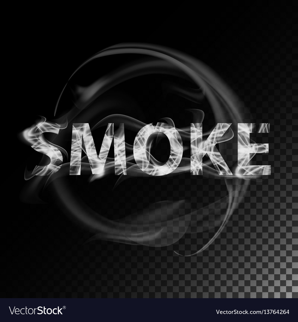 Smoke text realistic cigarette smoke waves