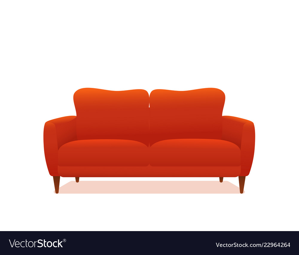 Sofa And Couch Red Colorful Cartoon Royalty Free Vector