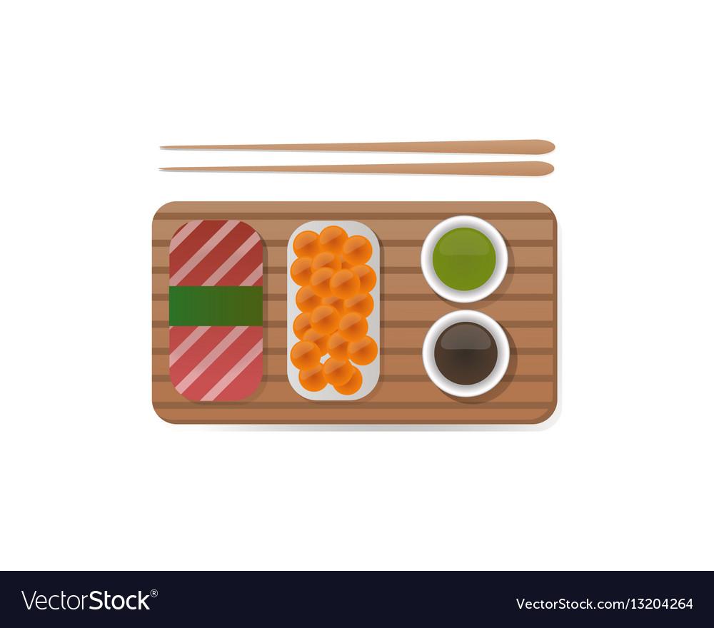 Sushi breakfast food and chopsticks