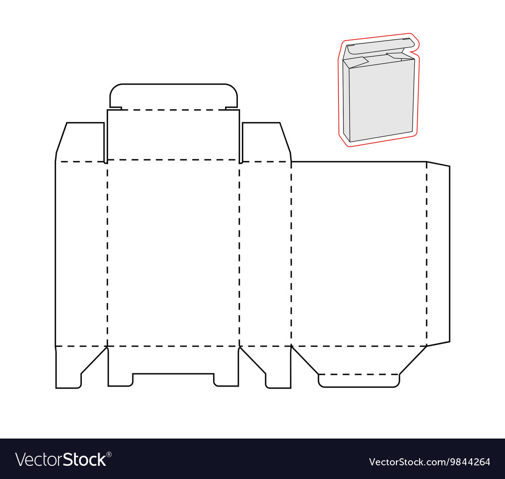 Template of a simple Box Cut out of Paper or vector image