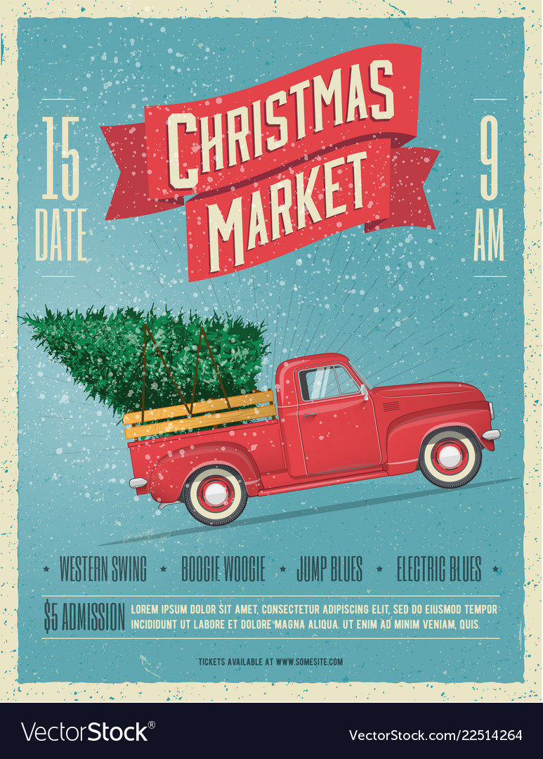 Vintage styled christmas market poster