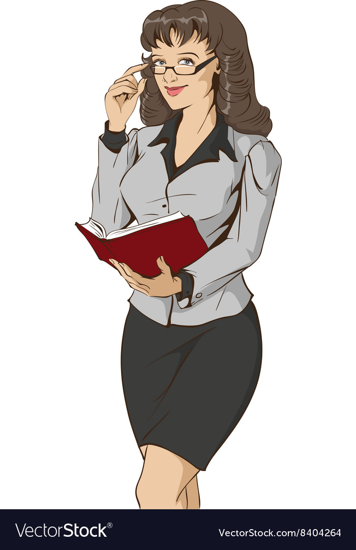 Young beautiful woman teacher holding open book