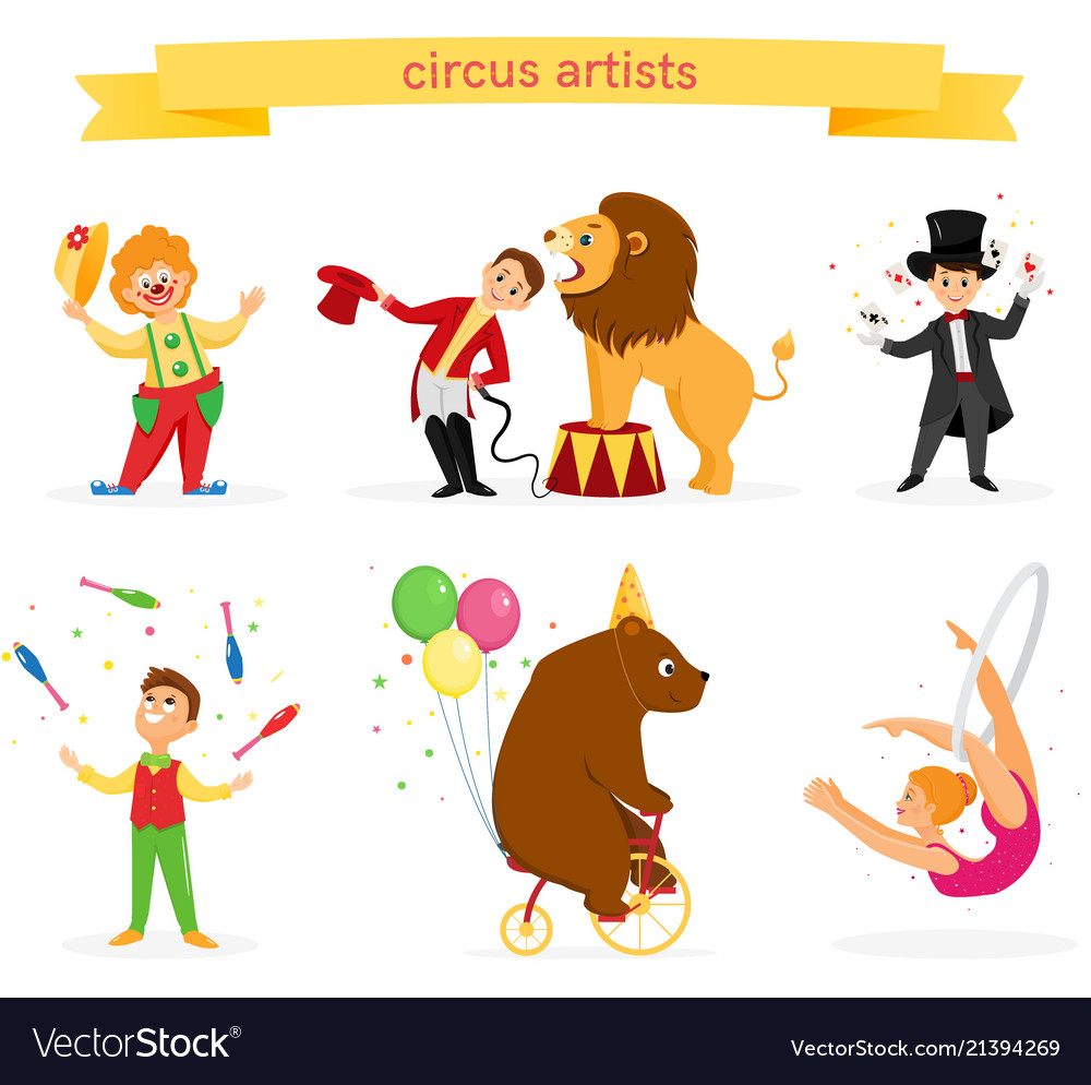 A set of circus artists