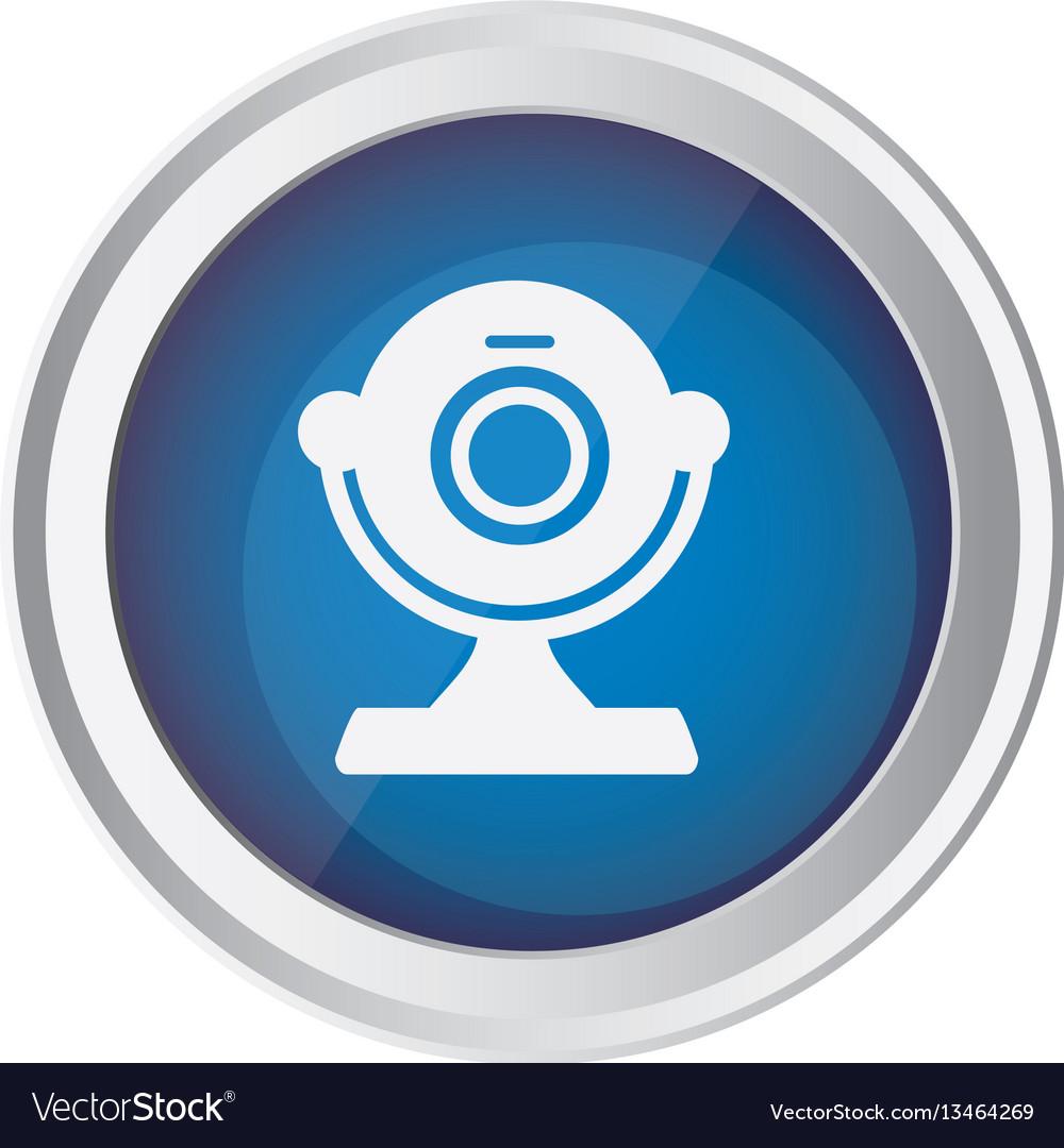 Blue emblem computer camera icon vector image