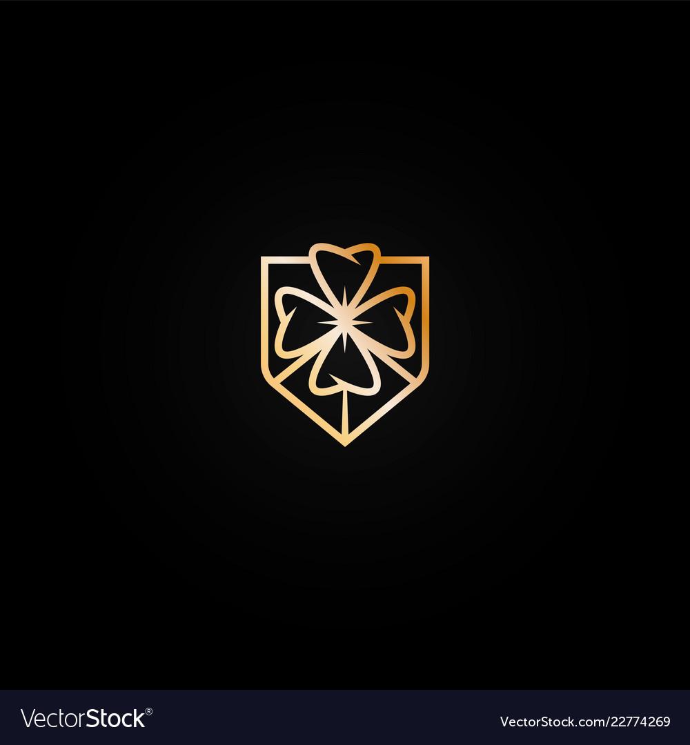 Bright shiny golden casino logo icon