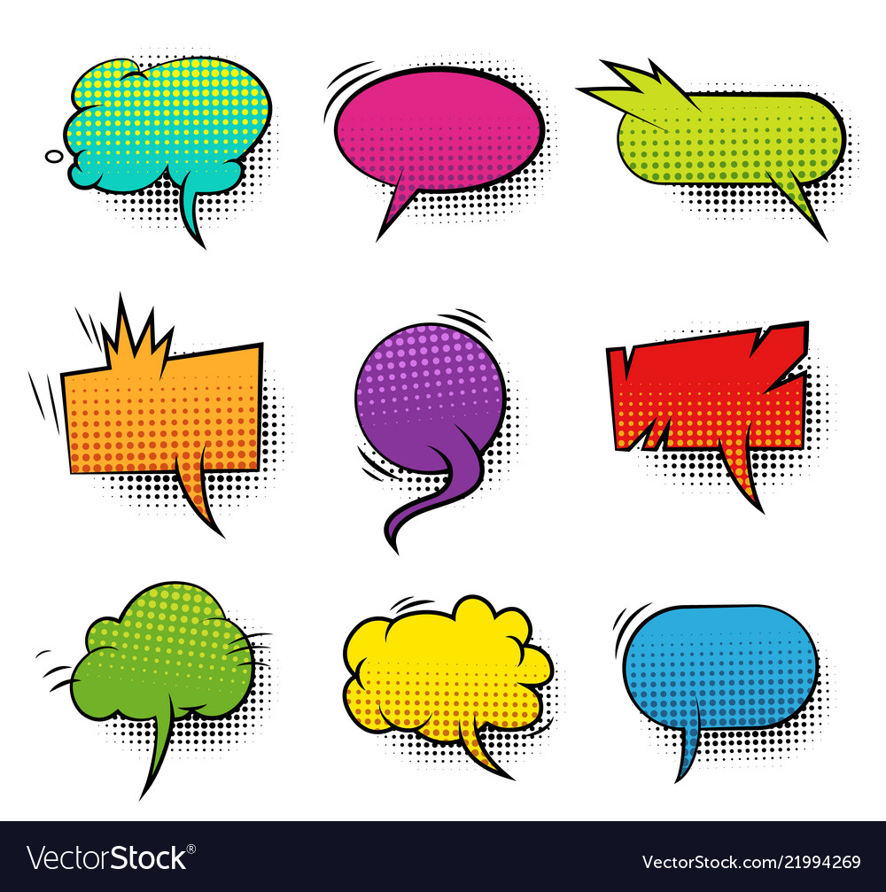 Comic colorful blank speech bubbles collection