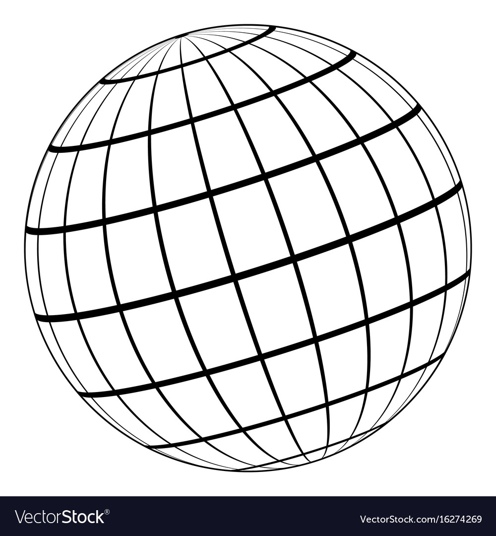 Globe 3d model earth or planet meridian parallel