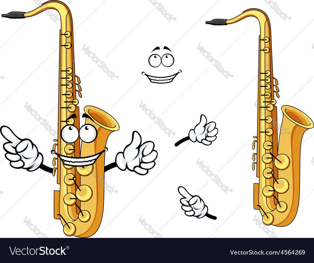 Happy cartoon saxophone instrument character vector image