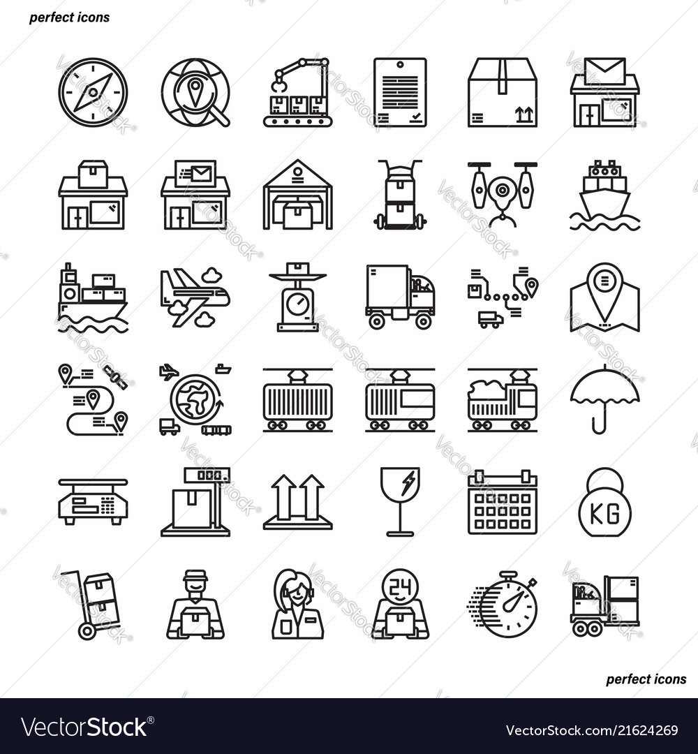 Logistics outline icons perfect pixel