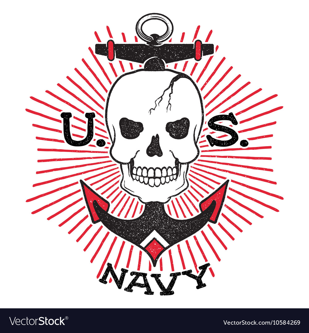 Old school US Navy design vector image