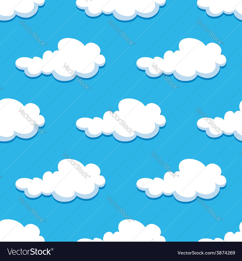 Seamless background with cute cartoon clouds vector image