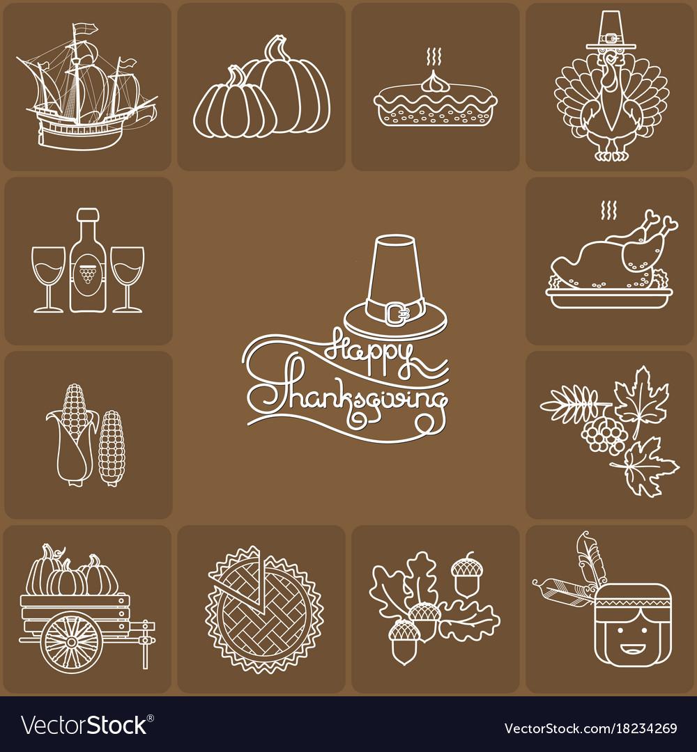 Set of cartoon icons for thanksgiving da