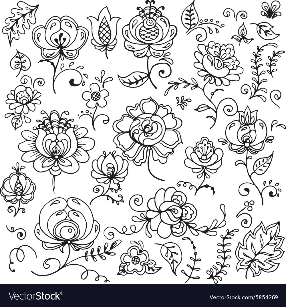 Set of hand-drawn floral elements