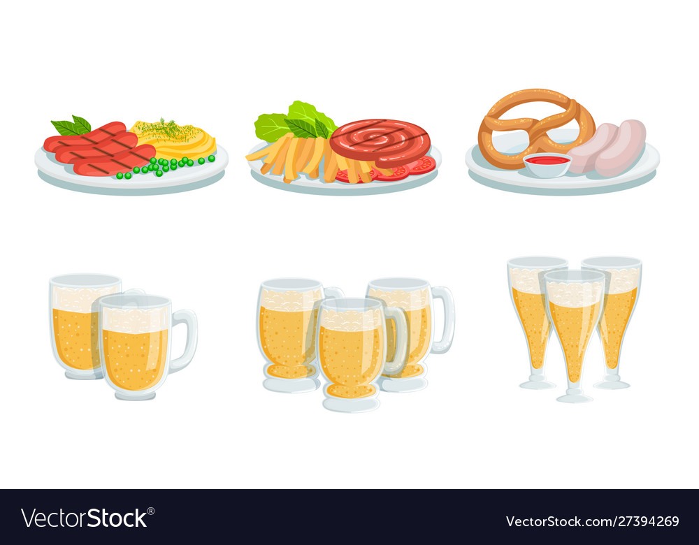 Traditional oktoberfest food and beer set glass