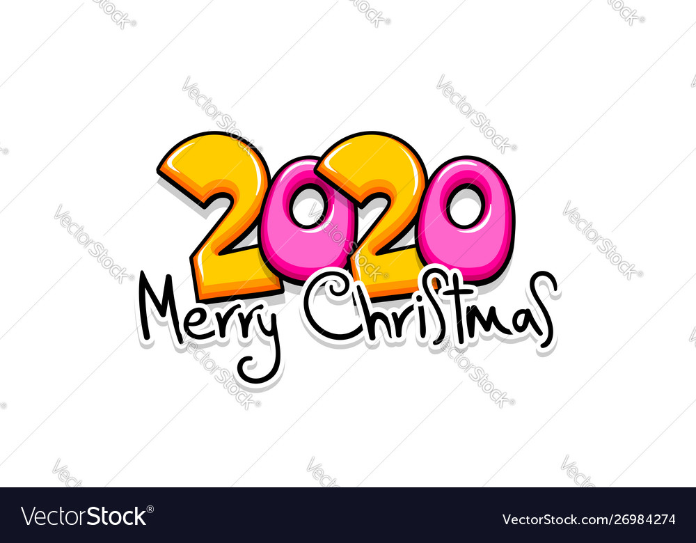 2020 cartoon new year number sketch doodle style
