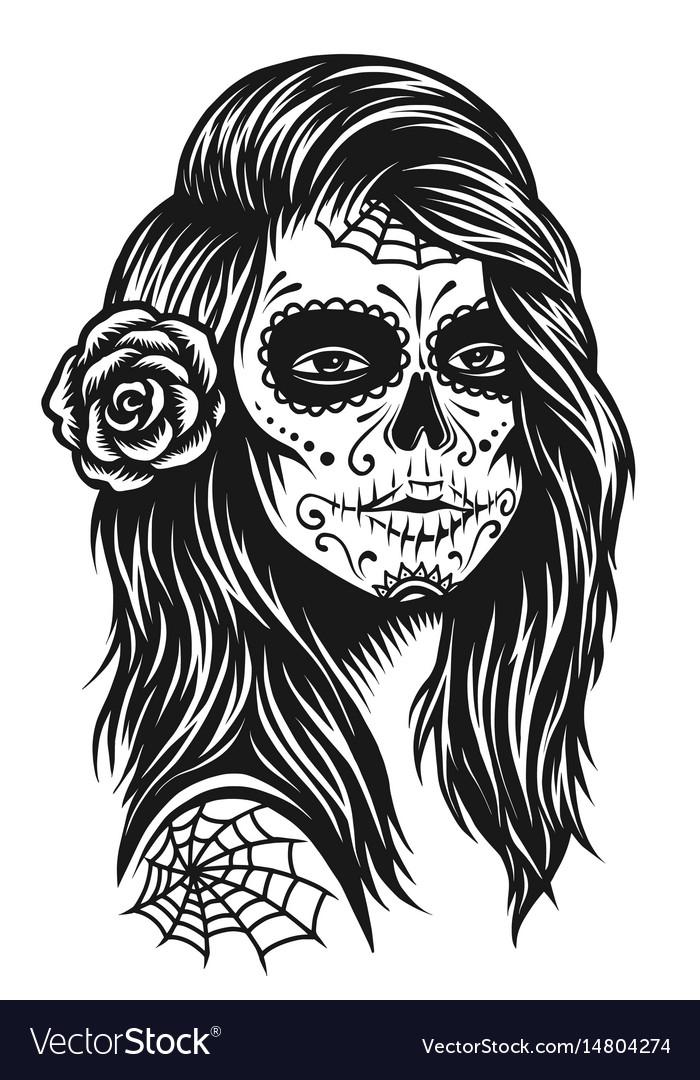 Black and white skull girl