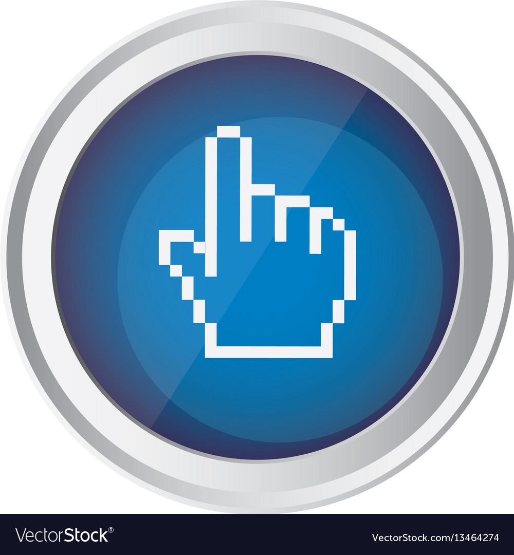 Blue emblem mouse hand cursor icon