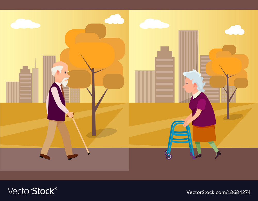 Elderly man with walking stick and senior woman