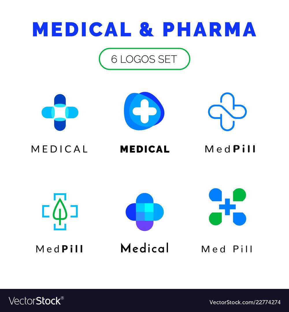 Flat line medicine icons blue and green emblem