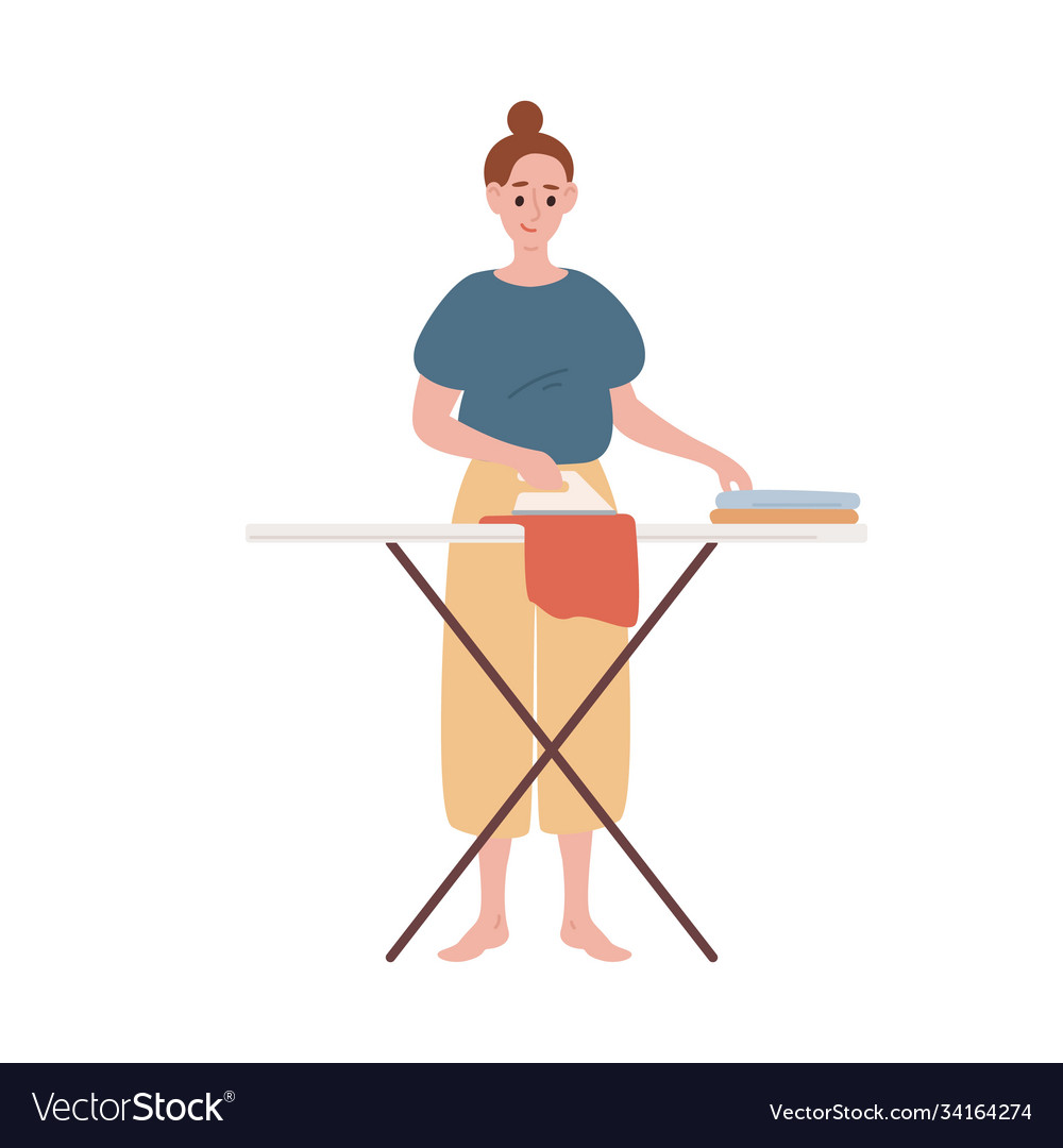 Happy modern housewife ironing clothes flat