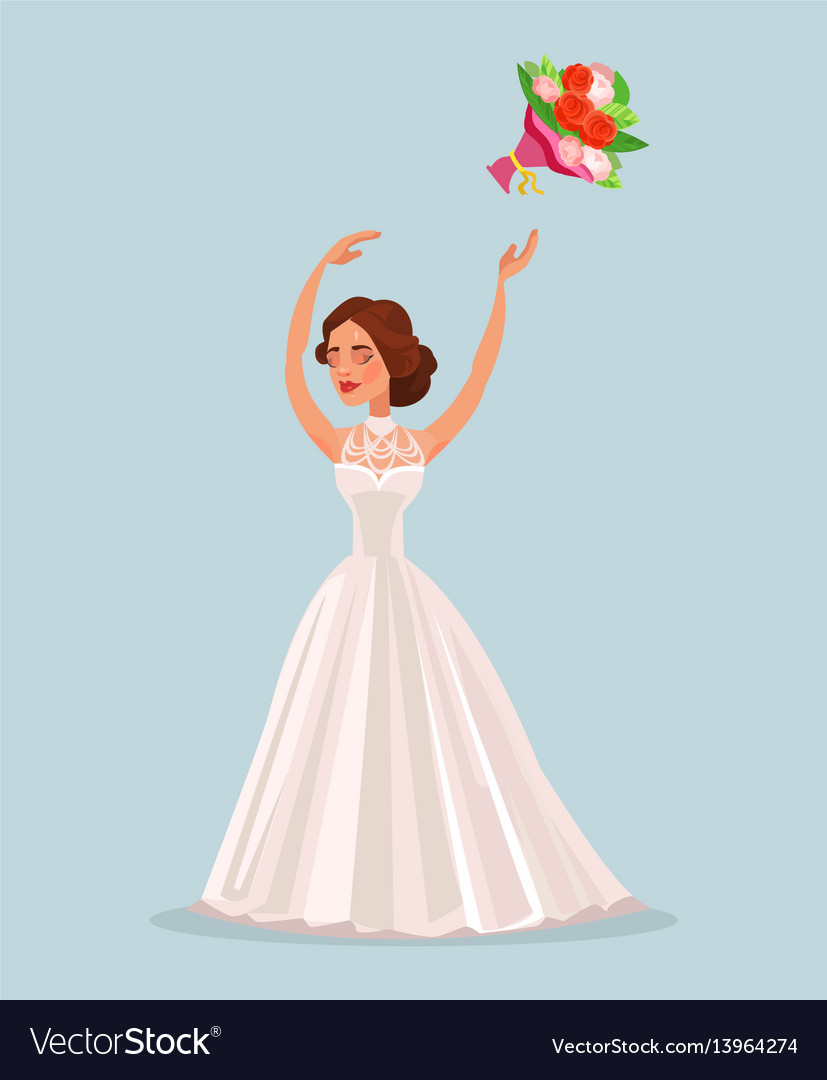 Happy woman bride character throwing bouquet