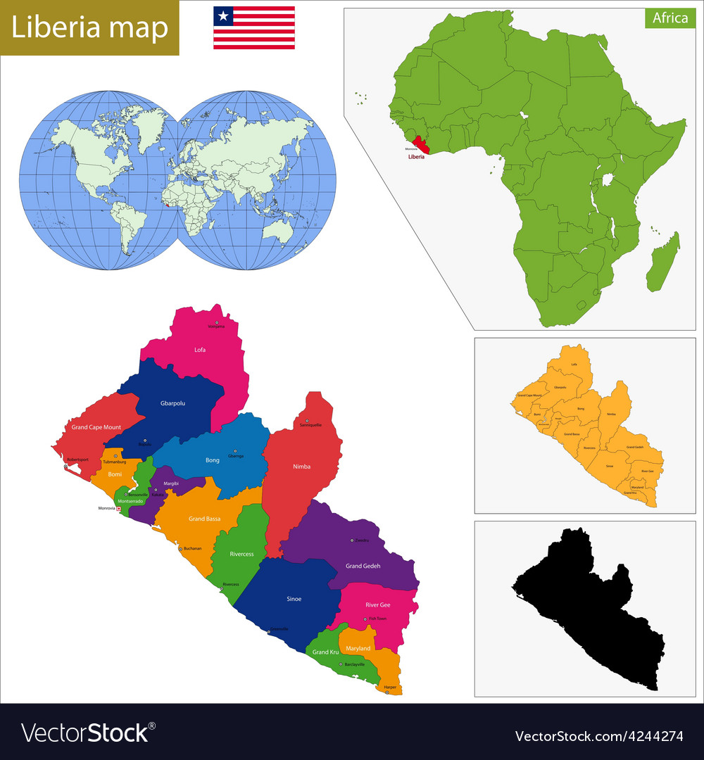 Liberia On Africa Map.Liberia Map Royalty Free Vector Image Vectorstock