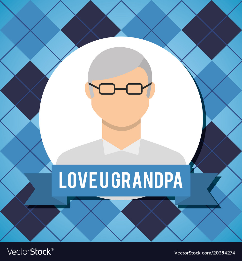 Love grandpa greeting card with older man with