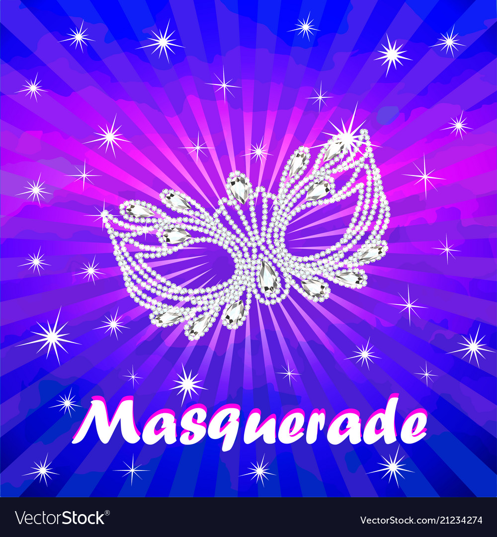 Masquerade poster with carnival mask with