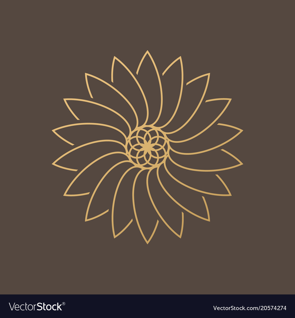 One Flower Symbol On Brown Background Royalty Free Vector
