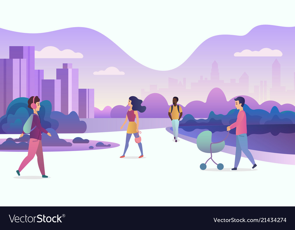 People life in modern eco city walking people in