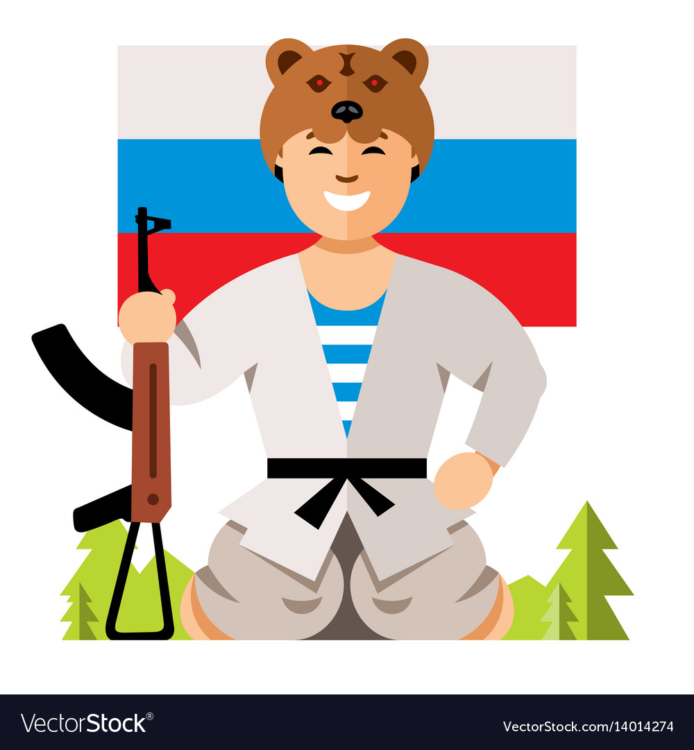 Russian soldier humor concept flat style