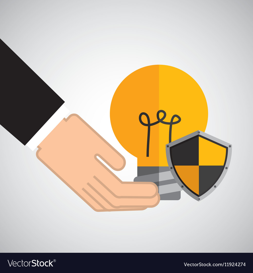 Security concept hand with bulb