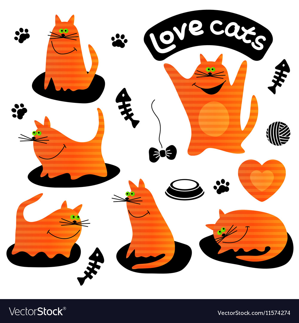 Set of funny ginger cats vector image