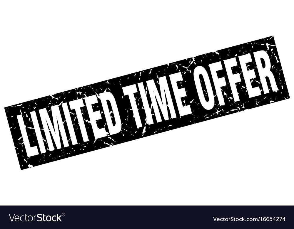 Square grunge black limited time offer stamp