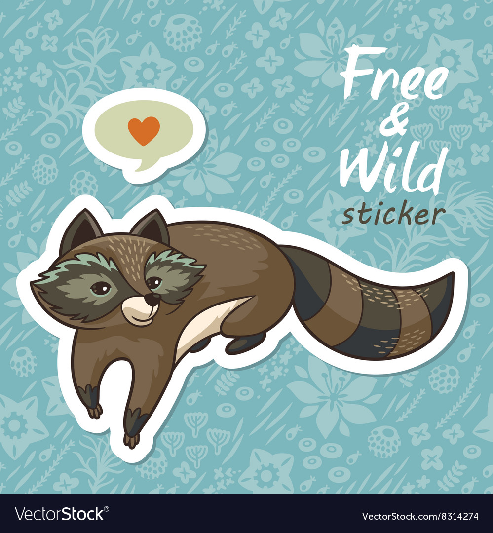 Stickers with a cute raccoon
