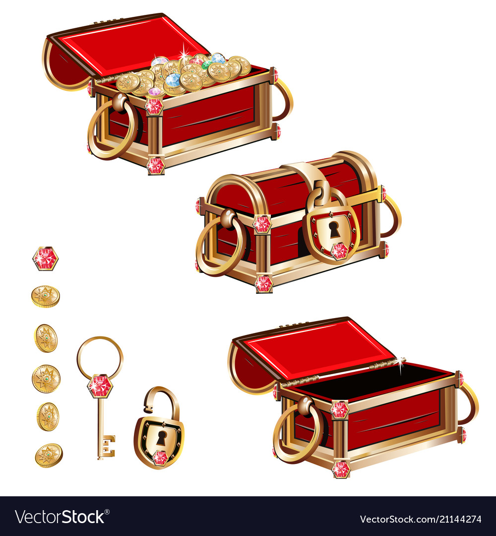 Treasure chest with gold coins and precious stones