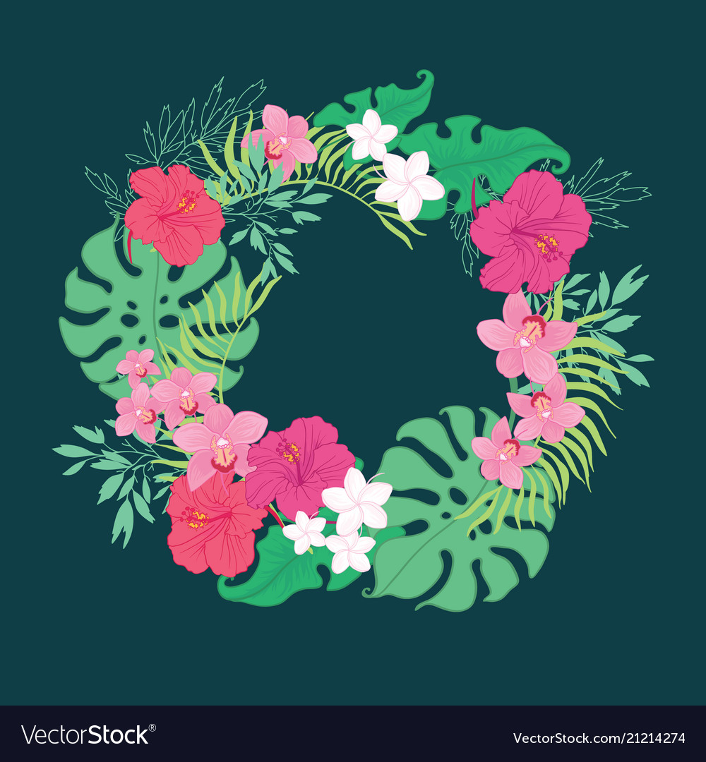 Tropical orchid hibiscus flowers wreath vector