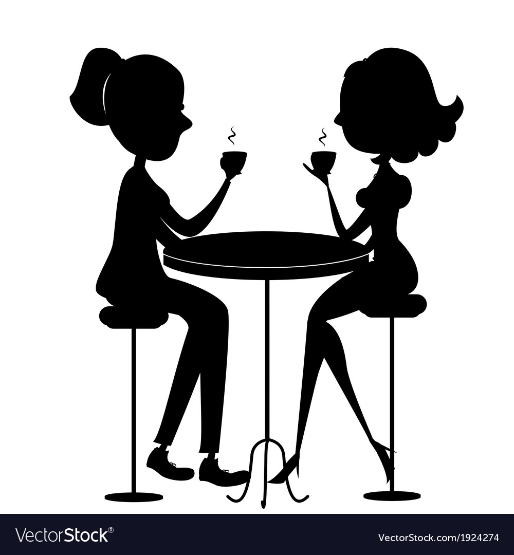 Two lovers women drinking coffee black silhouette